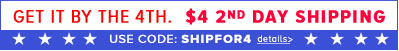 $4 2nd day ship with code SHIPFOR4 - Ends Thursday, June 27th, at 11:59 PM PST.