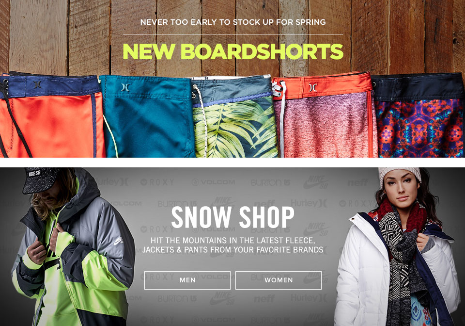 Mens Boardshorts & Dual Snow