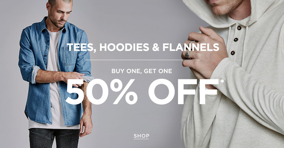 Men's Tees Hoodies + Flannels