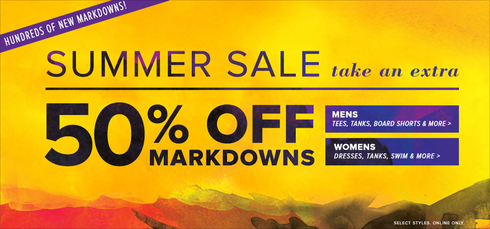 50% off markdowns