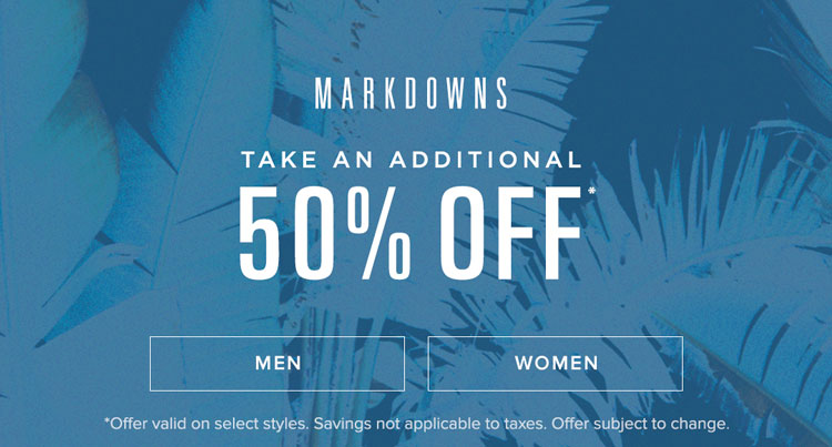Dual 50% off Markdowns