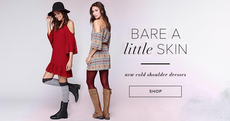 womens cold shoulder dresses