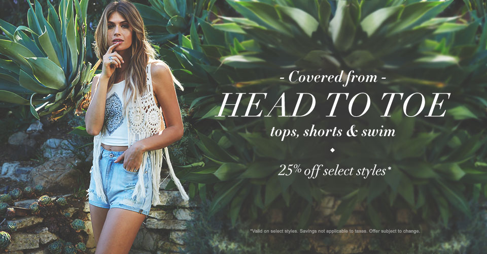Womens 25% off  Shorts, tops & swim
