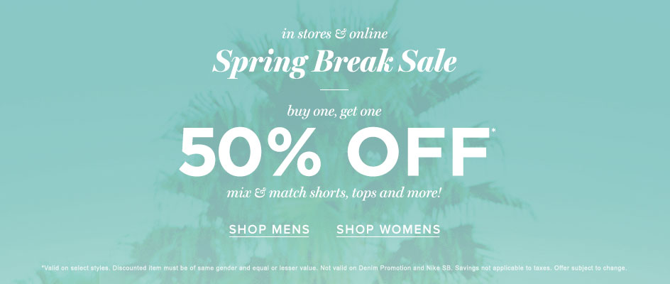 Spring Break Sale! Buy One, Get One 50% Off