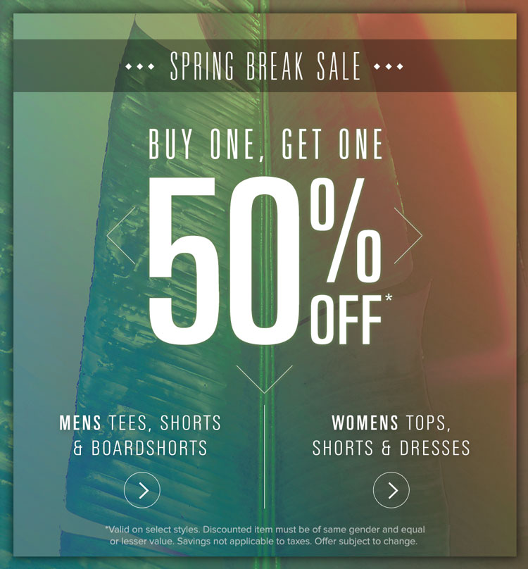 Mens & Womens BOGO 50 Spring Sale