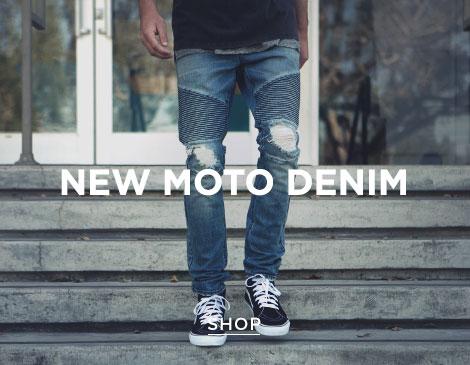 Mens New Moto Denim